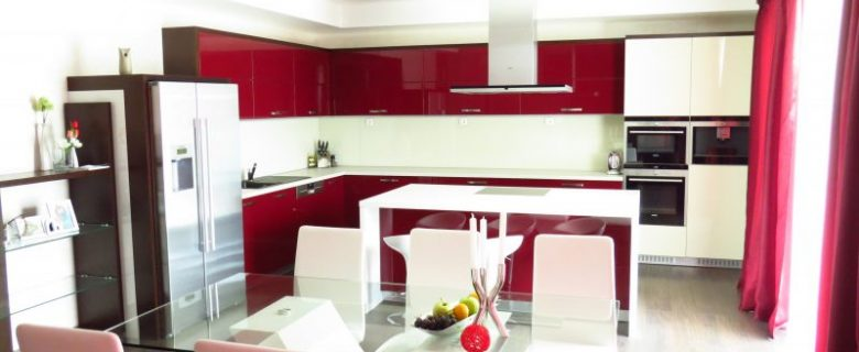 Модерна кухня MDF бордо